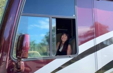 Jenni driving an RV