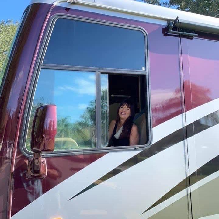 Jenni driving an RV